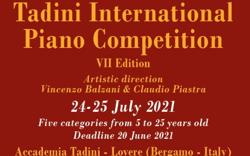 TADINI INTERNATIONAL PIANO COMPETITION 2021